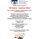 """New Community Event: """"All Sports – Coaches Clinic"""""""