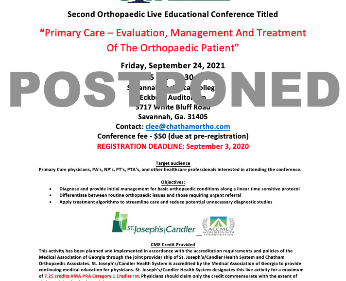 """*POSTPONED* New Orthopaedic Live Educational Conference: """"Primary Care – Evaluation, Management And Treatment Of The Orthopaedic Patient"""""""