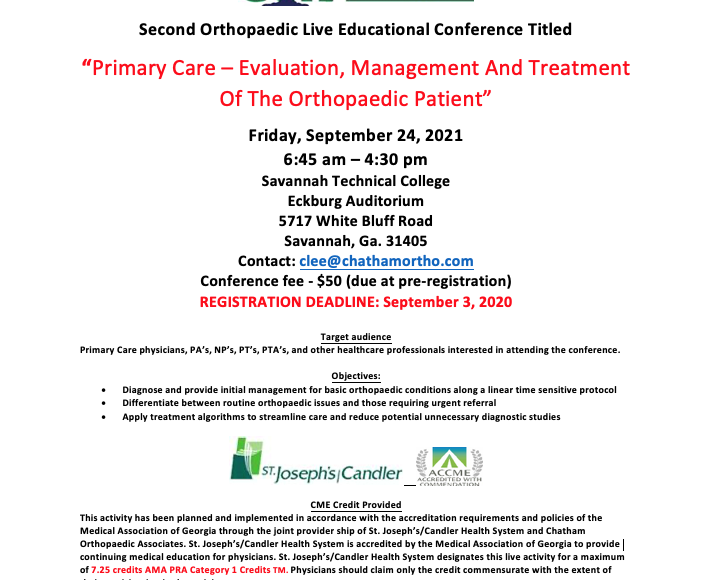 """New Orthopaedic Live Educational Conference: """"Primary Care – Evaluation, Management And Treatment Of The Orthopaedic Patient"""""""